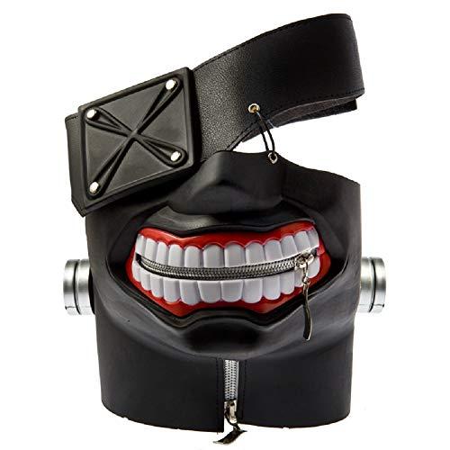 damdos Anime Masks Cosplay Props Tokyo Ghoul Kaneki Masks Ken Mask Cosplay Wig Adjustable Zipper Rubber Masks Halloween Props