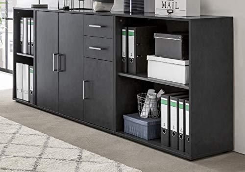 Preisvergleich Produktbild Aktenschrank Bürokombination Büro Schrank DIN-A4-Ordner Graphit anthrazit - (3903)