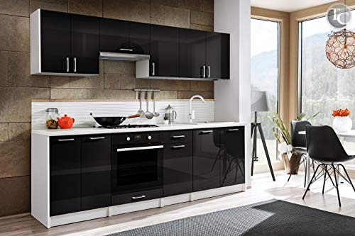 Tarraco Comercial Muebles de Cocina Completa Eliza Negro Brillo 240 cm