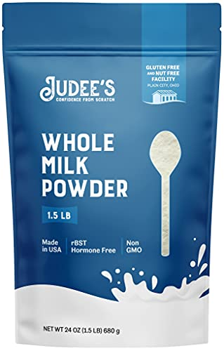 Judee's Whole Milk Powder 1.5lb (24oz) - 100% Non-GMO, rBST Hormone-Free, Gluten-Free & Nut-Free - Pantry Staple, Baking Ready, Great for Travel, and Reconstituting - Made in USA