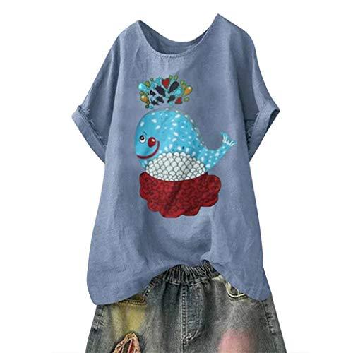 TUDUZ Blusas Mujer Manga Corta Verano Camisas Camiseta de Algodón y Lino con Estampado de Dibujos Animados (Azul.d, XL)