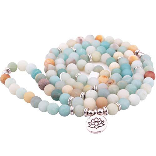 Adramata 8mm Mala Amazonite 108 Perlen Halskette für Yoga buddhistischen Rosenkranz Gebet Bettelarmband von natürlichen Edelstein Achat Jade für Frauen Männer gemacht