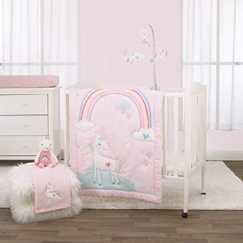 NoJo 3-teiliges Mini-Bettwäsche-Set für Kinderbett, Regenbogen-Einhorn, Pink/Aqua/Gelb/Weiß