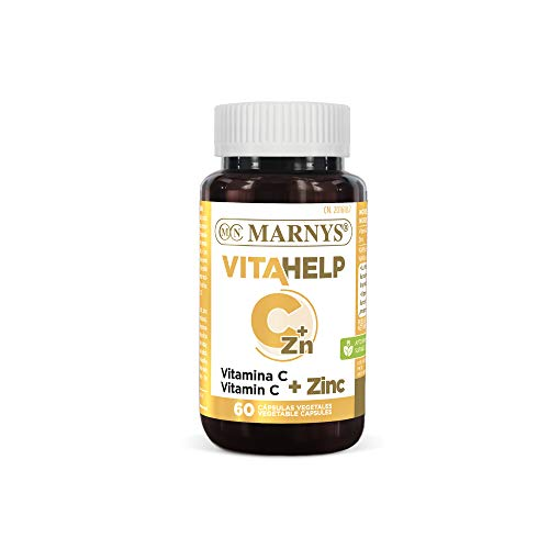 Marnys Vitahelp Vitamina C + Zinc - 60 Cápsulas Vegetales Aptas para Veganos - Reducen la Fatiga y Mantienen un Sistema Inmunológico Saludable 78 g