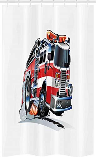 ABAKUHAUS LKW Schmaler Duschvorhang, Feuerwehr LKW, Badezimmer Deko Set aus Stoff mit Haken, 120 x 180 cm, Babyblau Scharlachrot