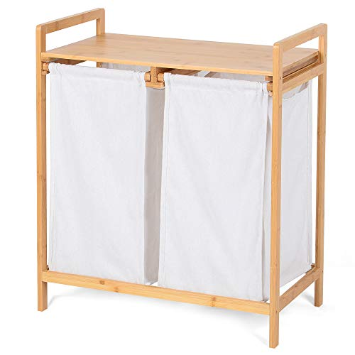 Bambusowy kosz na pranie, sortownik na bieliznę do sypialni z 2 białymi wysuwanymi torbami.