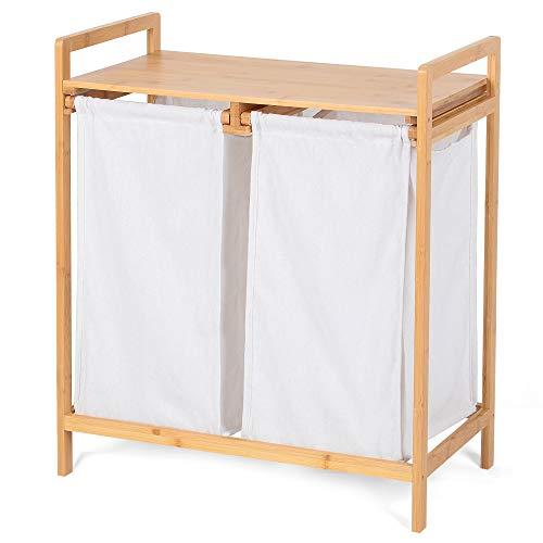 BAREHO Cesto portabiancheria sporca per bagno in bambù, mobile portabiancheria, due cesti separati per panni sporchi chiari e scuri, facili da estrarre.