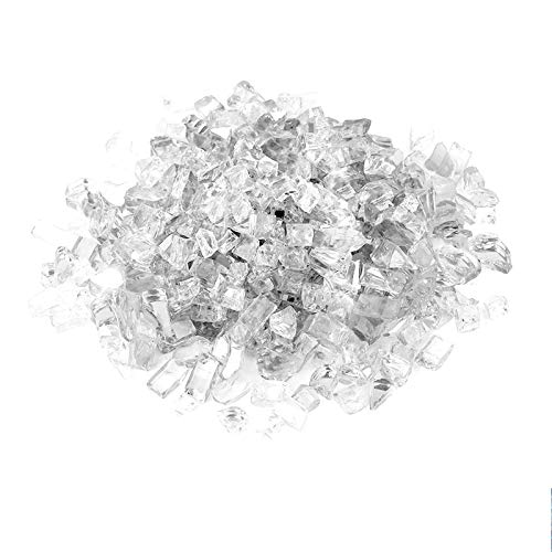 Onlyfire 10-Pounds Regular Fire Glass for Natural or Propane Fire Pit Fireplace & Landscaping, 1/2-Inch High Luster Platinum