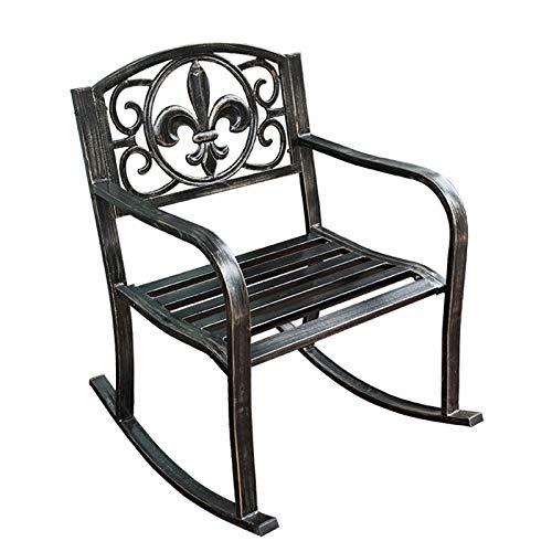 XLSQW Komfortable Entspannung Schaukelstuhl im Freiensessel Lounge Chair Outdoor Single Chair Iron Art Patio-Möbel, für Indoor Outdoor Outdoor Büro Home