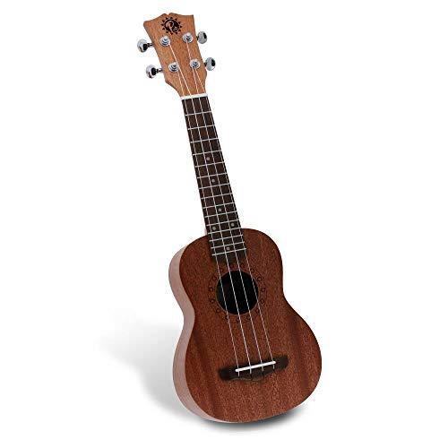 mahogany ukuleles Solid Wood Mahogany Soprano Ukulele Professional Instrument with Solid Dark Brown Body & Neck, Black Walnut Fingerboard & Bridge - Pyle PUKT45