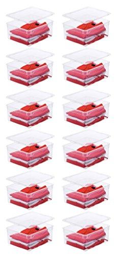12 x Rotho Aufbewahrungsbox Clear Box Sweater 18 Litern, 40,0 x 33,5 x 17,0 cm Kunststoff transparent stapelbar Plastikbox
