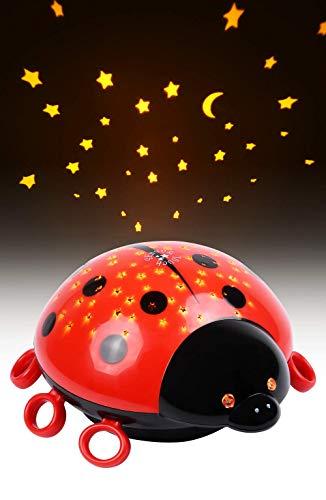 HEITECH LED Sternenhimmel Projektor Marienkäfer - LED Nachtlicht mit Farbspiel & Touch Sensor - Einschlafhilfe mit Sternenlicht für Baby & Kind - Sternenlampe für das Babyzimmer & Kinderzimmer