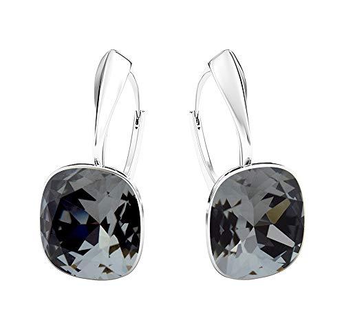Crystals&Stones - Meravigliosi orecchini quadrati, grandi, diversi colori disponibili, in argento 925, con cristalli Swarovski Elements, da donna e Argento, colore: Argento notte, cod. 7