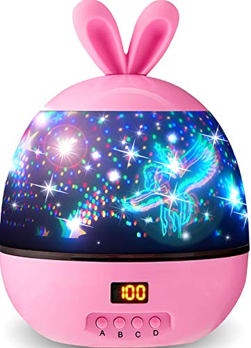 Night Light for Kids Star Projector Night Light with Timer Galaxy Light Projector 360 Degree Rotation - 4 LED Bulbs 10 Light Color Changing with USB Cable Unique Gifts for Men Women Children (Pink)