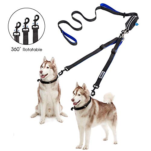 YOUTHINK Double Dog Leash, No Tangle Dog Walking Leash 2 Dogs up to 180lbs, Comfortable Adjustable Dual Padded Handles, Bonus Pet Waste Bag (Double Dog Leash)