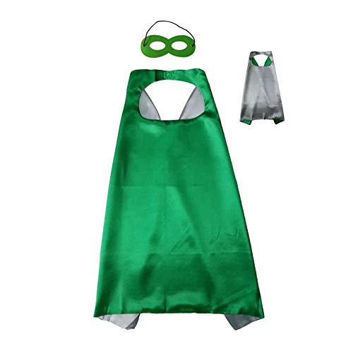 Reversible Kids Superhero Cape with Felt Mask Set for Boys Girls Dress up Costumes Halloween Birthday Party Favors, Green and Silver - 27.5'