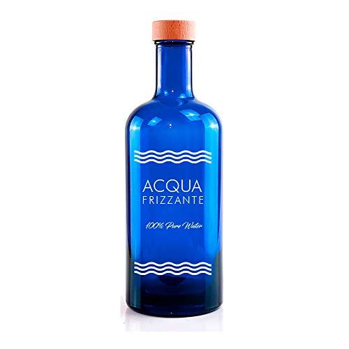 BrandPrint Bottiglia in Vetro Blu per Acqua Modello Iside 750 ml Serigrafata Frizzante con Tappo a Vite in Alluminio Rivestito in Legno. Bottiglia Plastic Free, Bottiglia per Ristoranti.