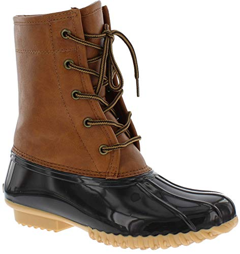 sporto Womens Duck Boots with Lace-Up Closure (Attina) Waterproof Insulated Mid-Calf Winter Boots for Comfort, Durability - Keeps Feet Warm & Dry Tan/Brown