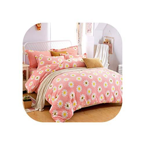 Flowers Stripe Printing Winter Thick Fleece Fabric Bedding Set Velvet Flannel Duvet Cover Bed Sheet Bed Linen Pillowcase,7,Queen Size 4pcs