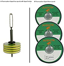 Aventik 3pack/Lot 100% Fluorocarbon Fly Fishing Tippet Line Fast Sinking Invisible Fly Fishing Bass Fishing Carp Fishing Saltwater Fishing Line 30 Meter/Spool, 0X-6X (0X+1X+2X+3X+Tippet Holder)