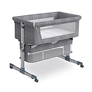 Bedside Crib Bedside Sleeper, Baby Bassinet with Mattress and Breathable Net, 6 Height Adjustable Baby Bed, Portable Travel Baby Crib, Baby Bedside Bassinet for New Born… (Grey)