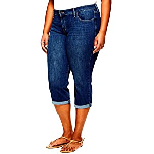 92c2ae426b Faded Glory Women's Plus-Size Denim Capri Pants with a Comfort Waistband  (24W) at Amazon Women's Jeans store