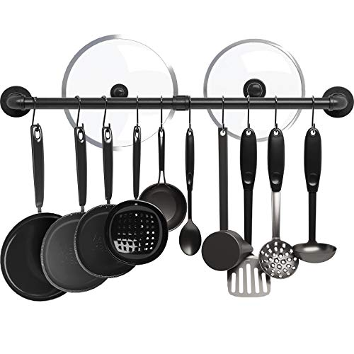 Greenstell Pot Rack with 14 S Hooks, 37 inch Wall Mounted Hanging Pot Rack, Industrial Pipe Hanging Rail for Kitchen Pot & Pan Lids, Multi Functional Wall Mounted Organizer Rack (Black 1 Pack)