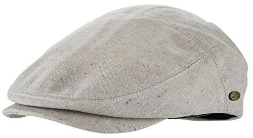 Men's Thick Cotton Summer Newsboy Cap SnapBrim Ivy Driving Stylish Hat (Oatmeal Sprinkle-2926, L/XL)