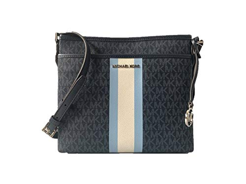 Crafted in signature logo-print twill coated canvas with leather trim, silver-tone hardware and contrasting stripe detail. Zip top closure. Exterior: Front slip pocket with magnetic snap closure.Logo charm. Adjustable shoulder/crossbody strap with 20...