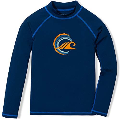 TSLA Boys UPF 50+ Rash Guard Long Sleeve, UV Sun Proctection Water Swim Shirts, Surf Swimwear Swimsuit Top, Wave Circle(bsr11) - Navy & Royal, 12 Medium