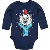 Shirtracer Tiermotive Baby - Eisbär mit Mütze und Schal - 3/6 Monate - Navy Blau - Geschenk - BZ30 - Baby Body Langarm