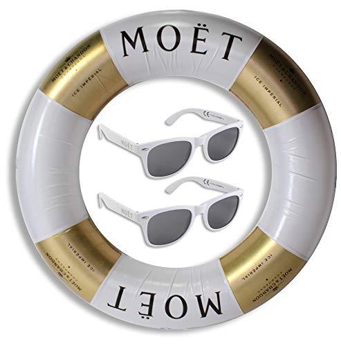 Moet & Chandon Champagner Ice Imperial Schwimmreifen inkl. 2 Moët Sonnenbrillen (weiß)