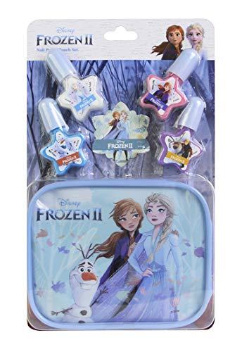 Frozen II Nail Polish & Pouch Set - Set Monedero y Kit de Uñas para Niñas - Maquillaje Frozen - Set con 4 Colores de Esmalte de Uñas y Estuche con Cremallera Reutilizable