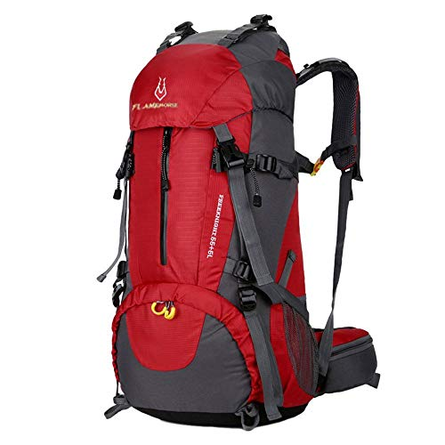OCCIENTEC Hiking Backpack 50L Mountaineering Backpack 60L Rucksacks with Rain Cover for Men Women,Tear and Water-resistant Ideal for Camping Climbing Biking Trekking Travel Outdoor (Red-60L, 55+5)