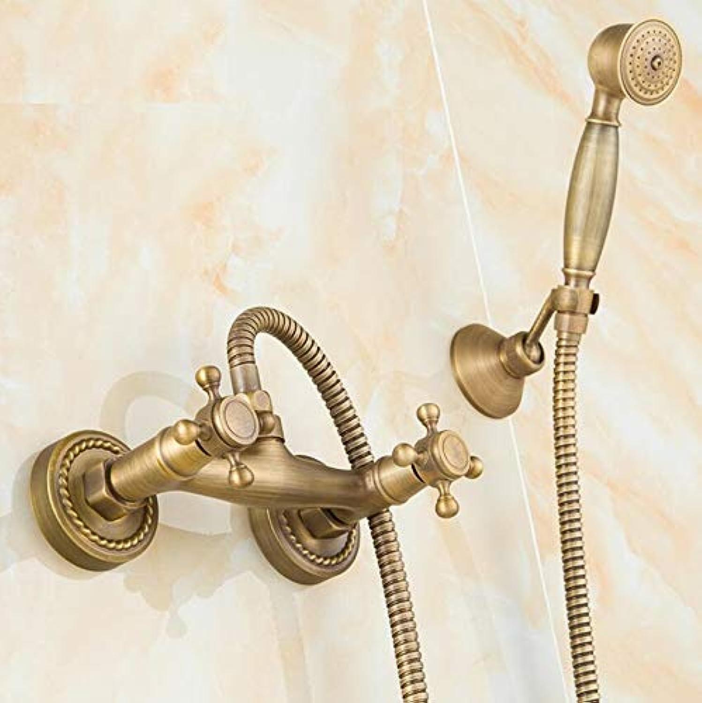 Makej Luxury Design Hot and Cold Bathroom Shower Faucet Set Antique Bronze Double Handle Control Shower Head Shower Hose