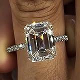 Anillo de diamantes de laboratorio concorte esmeralda,joyería de plata de ley 925, anillo de compromiso de boda, anillos de diamantes de laboratorio para mujeres, accesorio de fiesta nupcial