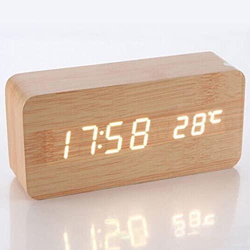 HBOY Reloj despertador digital de madera con 3 ajustes de alarma y 3 niveles de brillo, pantalla de tiempo LED electrónica, bueno para dormitorio, mesita de noche, escritorio, amarillo,