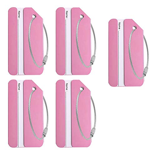 nuoshen Baggage Tags,Luggage Tag Luggage Tag with Name ID Card Aluminum Luggage Tags Label Travel Accessories(Pink 5 Pcs).