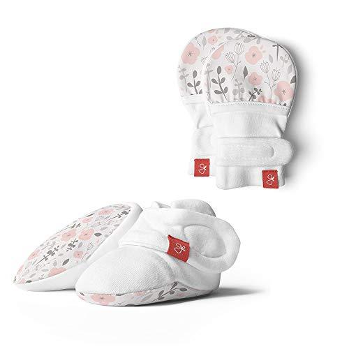 goumikids Verstellbare, weiche und sichere Stiefeletten und Fäustlinge für Baby - Jungen 0-3 Monate Enchanted Garden (2er Pack)