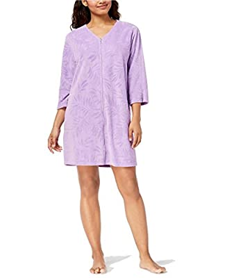 Miss Elaine Women's Terry Knit Leaf Embossed Zip Front Short Robe With Pockets
