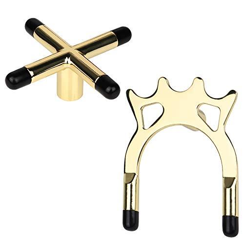 2 Stück Billard Queuebrücke, Queue Brücke Set, Snooker Billard Tisch Queue Messing Kreuz, Billard Queue Rack Messing Kreuz Spider Halter Zubehör