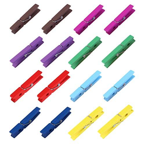 OUNONA Wäscheklammern 2.9 Zoll Wäscheklammern Holz 40x Mischfarbe Starke Metall-Federn für die alltägliche Wäsche Holz Wäscheklammern zum Basteln und Bemalen