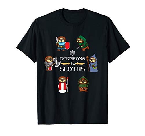 Dungeons and Sloths Shirt RPG D20 Dragons Slayer Gamers Gift T-Shirt