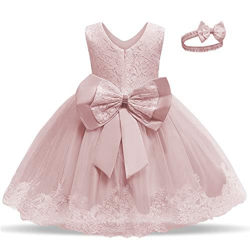 TTYAOVO Baby Mädchen Spitze Kleid Bowknot Blume Hochzeit Kleider Größe(120) 4-5 Jahre 648 Hellrosa
