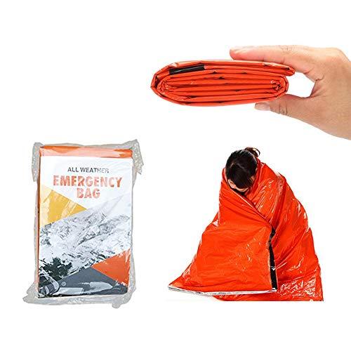 Asuthink Rettungsdecken, notfallschlafsack Notfall-Zelt biwaksack Survival Schlafsack, Rettungszelt für Camping im Freien und Wandern
