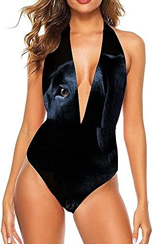 Mujeres Moda Sexy Cuello en V Profundo Trajes de baño de una Pieza Trajes de baño Traje de baño-Perro Labrador Negro, 2XL