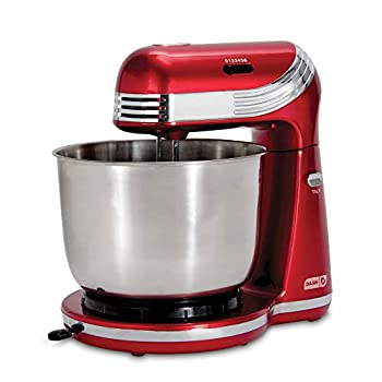 DASH Stand Mixer  Electric Mixer for Everyday Use   6 Speed Stand Mixer with 3 qt Stainless Steel Mixing Bowl Dough Hooks & Mixer Beaters for Dressings Frosting Meringues & More - Red DCSM250RD