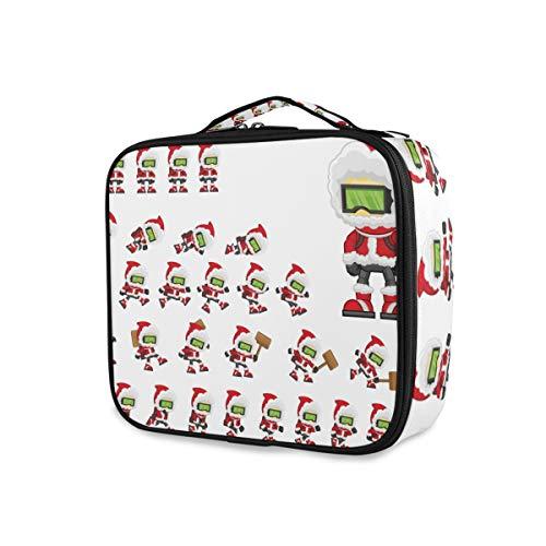 Xmas Funny Santa Claus Professional Makeup Bag Travel Cosmetic Case Organizer Portable Makeup Toiletry Bag Makeup Travel Bag for Women