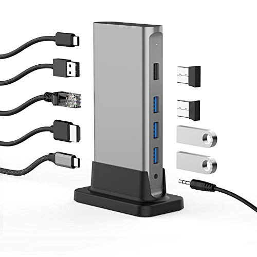 LZW 11 in 1 usb c type c hub for multi hdmi rj45 vga usb 3.0 2.0 with power (100w) docking adapter for macbook pro USB-C hub