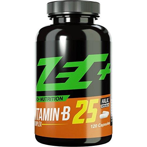 ZEC+ Vitamin B25 | Vitamin-B-Komplex | trägt zu einem normalen Energiestoffwechsel des Nervensystems bei | WASSERLÖSLICH | 120 Kapseln